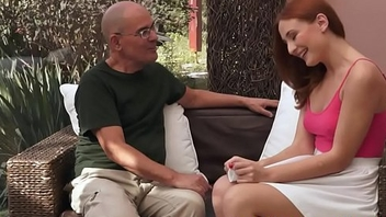 Redhead beauty screwed by grandpa