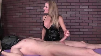 mean-Dominant milf handjob