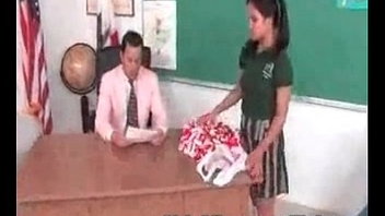 Cute Oriental cheerleader fucked and facialized by the school dean
