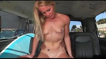 Awesome blonde banged hardcore in the bus