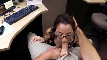 Amateur college gal with glasses railed at the pawnshop