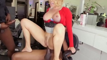 Double penetration blonde milf fucks interracial