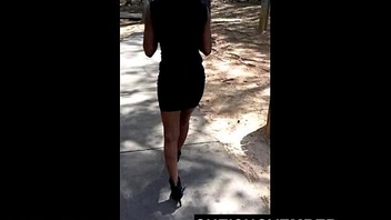 Public Exposure Bare Ass Teen Walking In Dress Flashing Shaved Pussy In Heels 18
