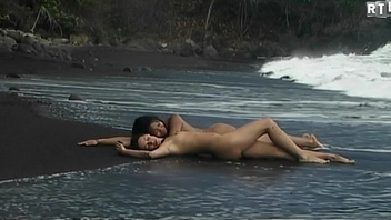 Libertinages - Two cute naked girls having romantic softcore kissing sport on the beach