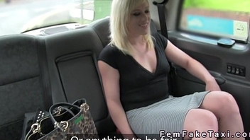 Lesbians with dildo fucking in fake taxi