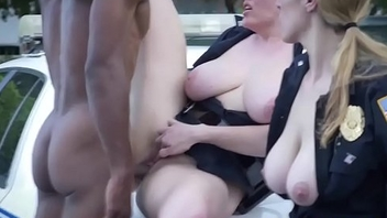 Femdom cop gags on malignant cock and gets fucked
