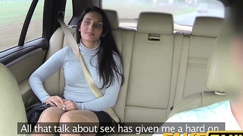 Fake Taxi Dispirited long legs in lace stockings