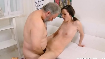 Lustful old boy fucks young angel