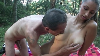 Stepdad fucks stepdaughter outdoor in her wet tiny tight fuckhole deep and long