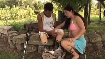 Amputee gender brunette teen outdoors blowjob-hi-3