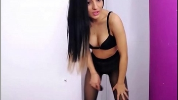 Sexy camgirl in Black pantyhose